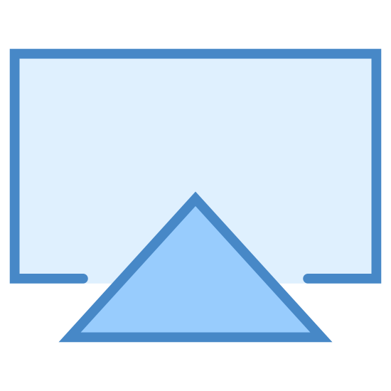 Air Play icon. The icon is identical to the icon commonly used for AirPlay, a proprietary wireless media standard created and owned by Apple, Inc. for use in their smartphones, computers and television devices. It is a rectangle interrupted at the bottom by a large, solid triangle.