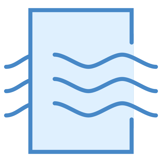 Качество воздуха icon. It's a logo of a rectangle in portrait orientation with curved edges. Coming through the rectangle from left to right are curved line waves. There are three of them and they curve down then up then down.