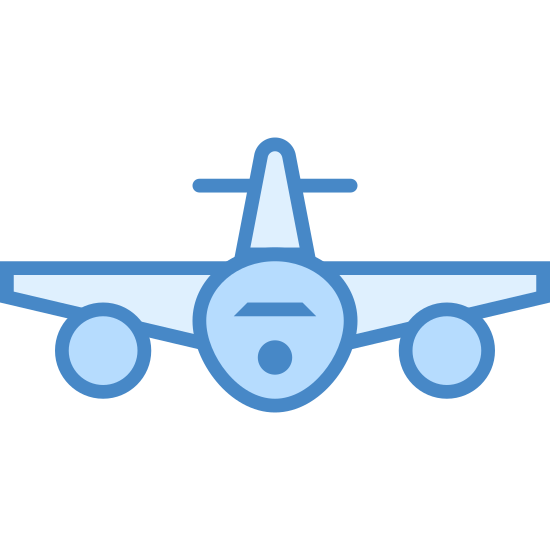 Vista frontal do avião icon. The front view of an airplane is recognizable by it's tail, wings, and jet engines. A small circle with what looks like two eyes and a mouth are in the center of a logo. Extended from the circle are two wings on either side and a tail above it. The two wings have two tiny circles underneath for jet engines.