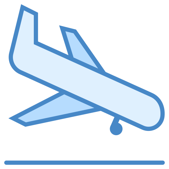 Airplane Landing icon. This is a picture of an airplane that is flying downwards towards the right. The tail of the plane is pointed upwards, and it looks like it's about to land. You can see the bottom wheel already out in the front of it.