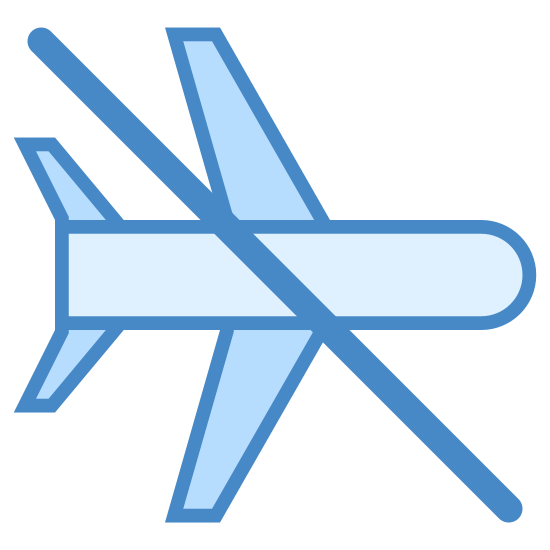 "Airplane Mode Off icon. The ""Airplane Mode Off"" icon is an outline of an airplane from an overhead perspective. There is a single line crossing in front of the airplane, drawn diagonally downward from left to right."