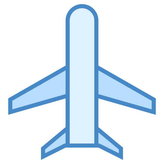 Flughafen icon. It's a small airplane.  The body of the plane is long and narrow.  The head of the plane is pointing up and to the right, but on an angle.  The plane has two wings with flat ends and a tail.