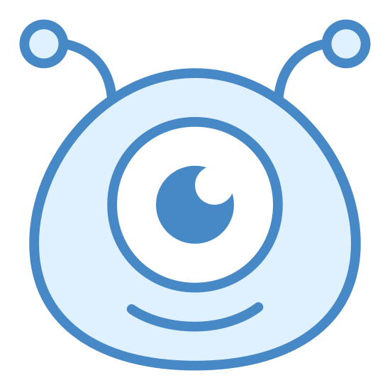 Alien icon. This icon is depicting the head of an alien with a smiling expression on its face and one eye. The shape of its head is an oval and two antennae rest on its head.