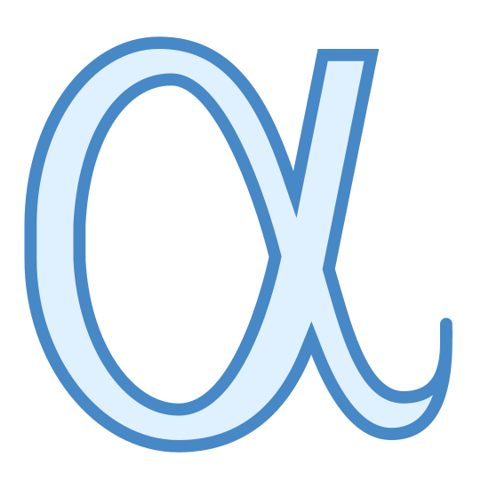 Alpha icon. Alpha, the first letter of the greek alphabet. Imagine the number zero, but on the right side, directly in the middle, a straight line extends nearly tangential to the zero, on a slight angle upward and to the right. In the same place, below, another line curves downward and to the right. Imagine a zero and a backward letter J fused together.