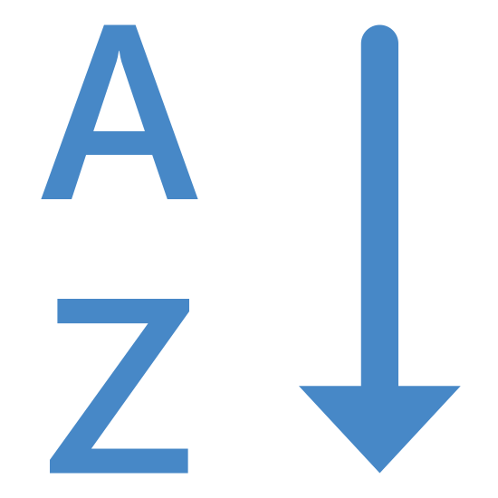 Tri alphabétique icon. This icon shows alphabetical order. The downward arrow show that it is going in order from A to Z.
