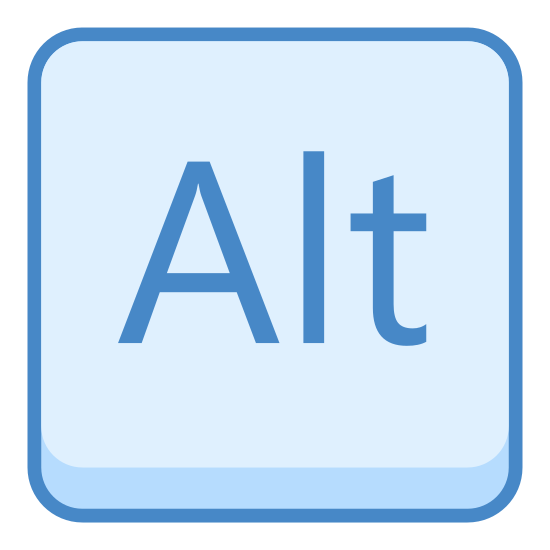 """Alt icon. This is an icon for depicting the alt key. There is a rounded square box with the word """"Alt"""" in the center of it."""