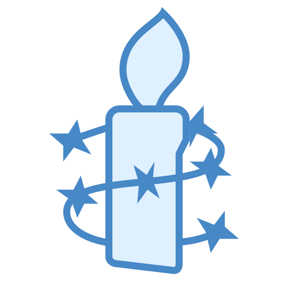 Amnesty International icon. The icon is shaped like a vertical rectangle with a slightly slanted bottom. At the top is a flame-like shape placed at the center. The rectangle is wrapped in a barbwire looking shape that resembles a letter S backwards.