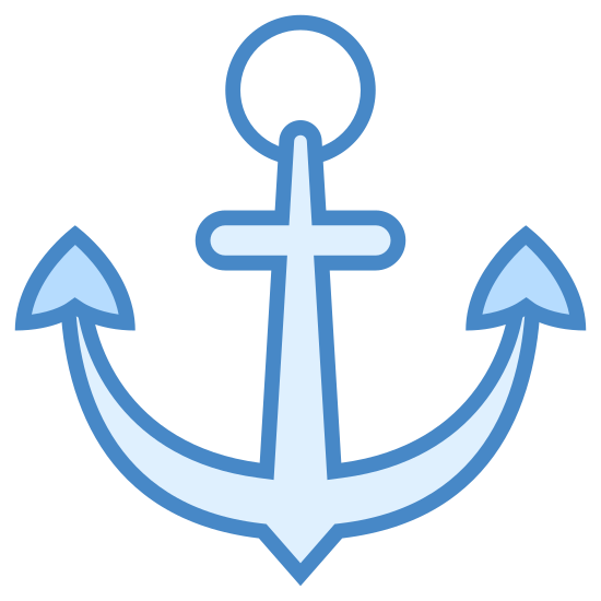 Kotwica icon. It's a logo of an anchor and has a circle with a hole in it on top with lines going down and outward from that circle. There are triangular shapes at the end of these lines and a smaller rectangle beneath the circle as well.