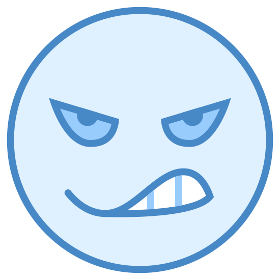 Enojado icon. This is the Icon for Angry. It is a circle shaped face, with teeth showing in a half circle grimace. The eyes are ovals that are slanted downwards, with two lines above the eyes slanted downwards also that make up the eyebrows.