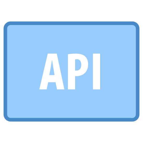 """API icon. The outer shape of the icon is a rectangle that is slightly longer than it is tall. Inside the rectangle are three capital letters. The letters inside the rectangle are """"API""""."""