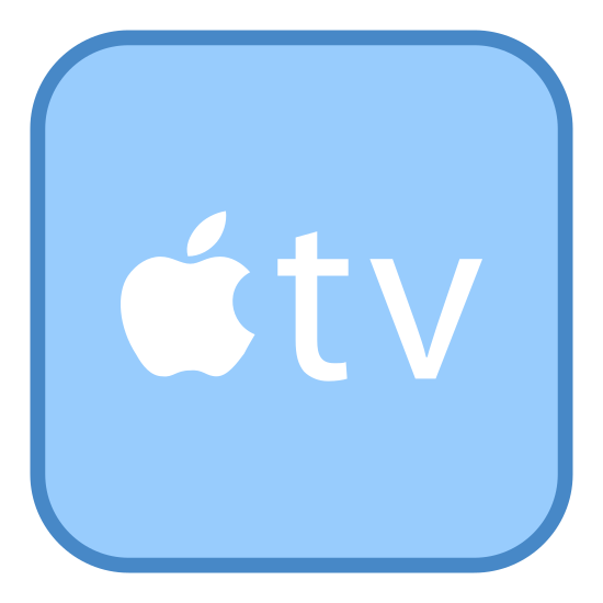 Apple TV icon. This image for apple tv is depicted as a square. Inside of the square, at its center, is the logo for apple. This logo is a small apple with a bite taken out of its right side. Next to the apple are the letters t and v.