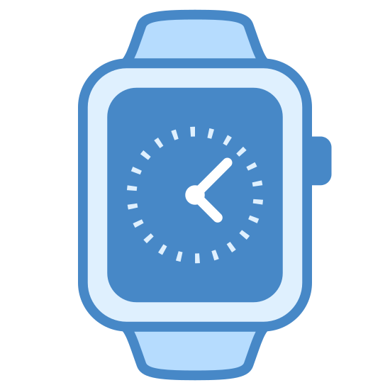 Apple Watch icon. The icon looks like the face and straps of a rectangular watch, with no face features. the straps are at the top and bottom of the watch face. There is a semicircle on the right side of the watch to look like a button.