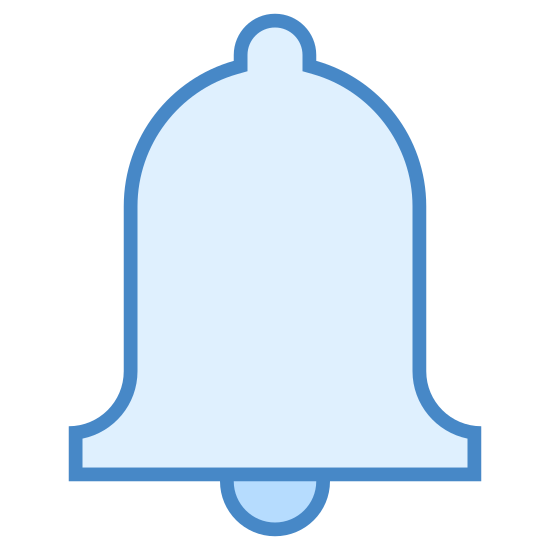 Przypomnienia o wizycie icon. The icon is an outline of a bell. It is the normal bell shape with a small circle on the top. There is a slightly bigger circle at the bottom that is supposed to be partially inside the bell.