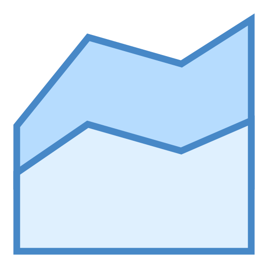 Wykres warstwowy icon. The area chart has a flat bottom with two sets of line going up and down. The top set of lines has dots interspersed throughout to indicate that it measures something different than the bottom set of lines.