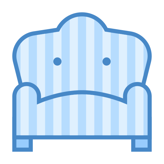 Armchair icon. The icon shows an armchair that has two wooden pegs as feet supporting a cushioned chair for a single person. The chair has two round arm rests and a raised, cushioned round back support.