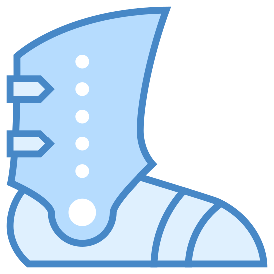 Opancerzony Boot icon. This is a boot that is enhanced with metal to make it armored. The boot covers the entire foot from toe to heel. Attached to the foot covering portion of the boot is more armor that extends just above the ankle bone and has a spot to pivot forward and backward.
