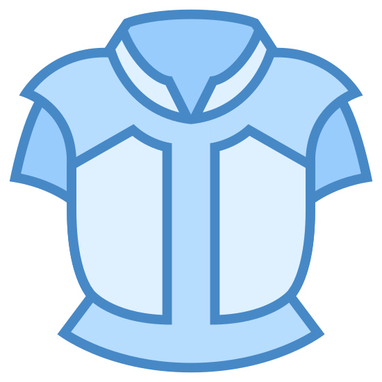 Body Armor icon. There is a single object that looks like a breastplate, or a t-shirt without any arms and a large collar. There is some detailing to the shoulder area where extra lines are placed, and the same around the area where the waist would be.