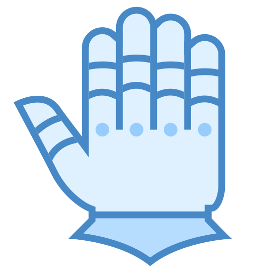 Gauntlet Gloves  icon. This is a picture of a left hand. it's fingers are all sticking straight up. each finger has a cover on it, almost like a ring. on each knuckle, besides the thumb's, is a little dot.