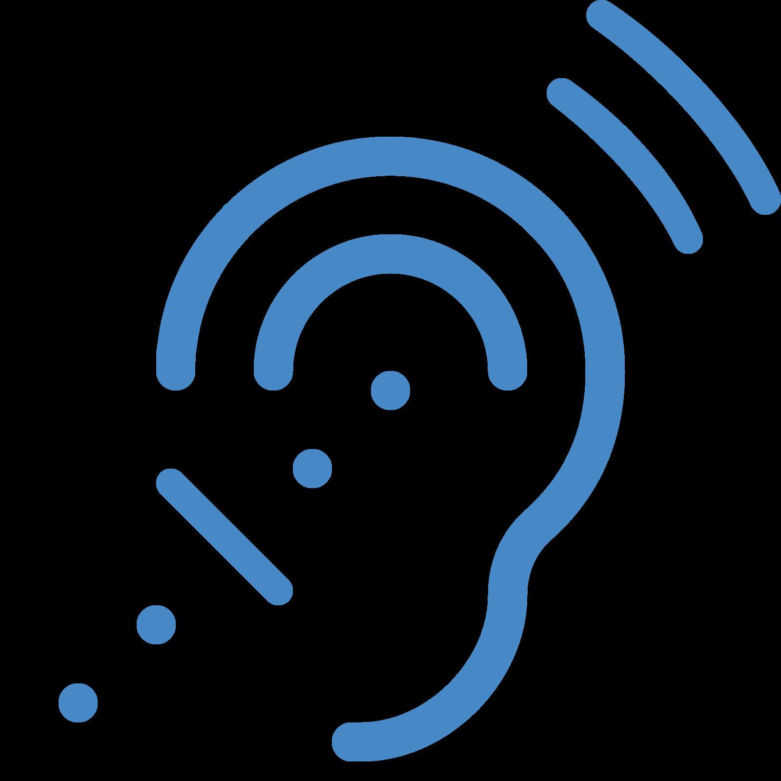听觉辅助系统 icon. This logo is shaped like a an ear kind of. There are some dots in the ear and leading up to the ear from the bottom left. To the top right there are a couple of lines that are representing noise of some kind.