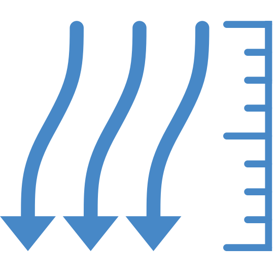 Ciśnienie atmosferyczne icon. There are three squiggly vertical lines that are side by side and have arrows pointing downward. To the left of these lines is a vertical line with seven lines pointing out from it, towards the three arrows. The seven lines vary in size with the longest of the seven being on the top, middle, and bottom. The other four lines are all the same size with two being in between the top and middle longer lines and the other two being in between the middle and bottom longer lines.