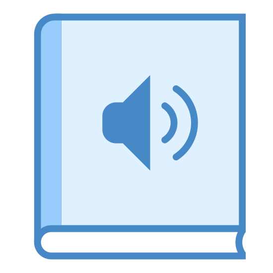 Audio Book icon. This is a picture of a book. on the bottom you can see the width of it and it's pages. on the cover of the book is the icon for a speaker, or sound, showing that audio is playing.