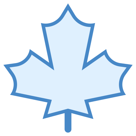 Autumn icon. It's a maple leaf, starting at the bottom with a curved stem and leading into the three major points of the leaf. Each section of the leaf has three curved triangles.
