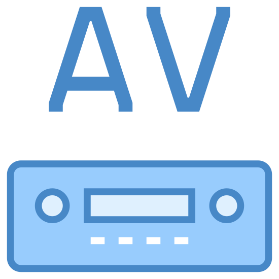 "AV接收器 icon. This is a picture of a machine almost like a VCR or DVD player that has two knobs, a place to put a disc, and four buttons on the bottom of it. on top of the machine are robotic looking letters ""AV"""