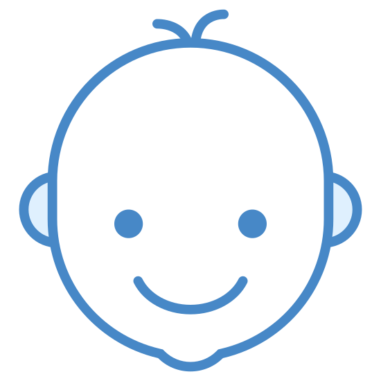 Babys Room icon. This icon shows a baby's head. It's a simple black outline of a smiling baby head with a couple of hairs pointing up.
