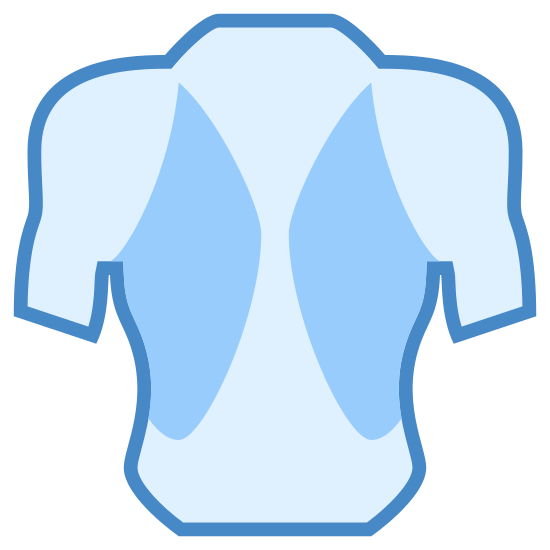 Bodybuilder icon. This icon is the outline of a muscular man's torso, the head hands and legs are cut off. The torso is shown wearing a back brace, the brace is shown on both sides of the back and has lots of small dots covering the surface of the brace.