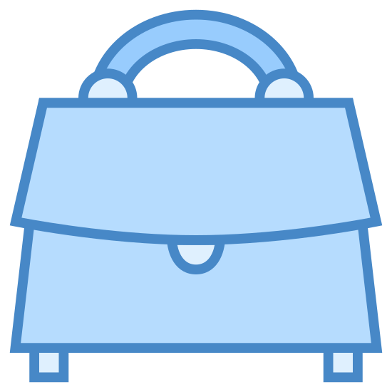 Bag icon. There is a handle at the very top. it is connected to a rectangle. there appears to be a space to open a flap which contains other objects. there is a button in the middle