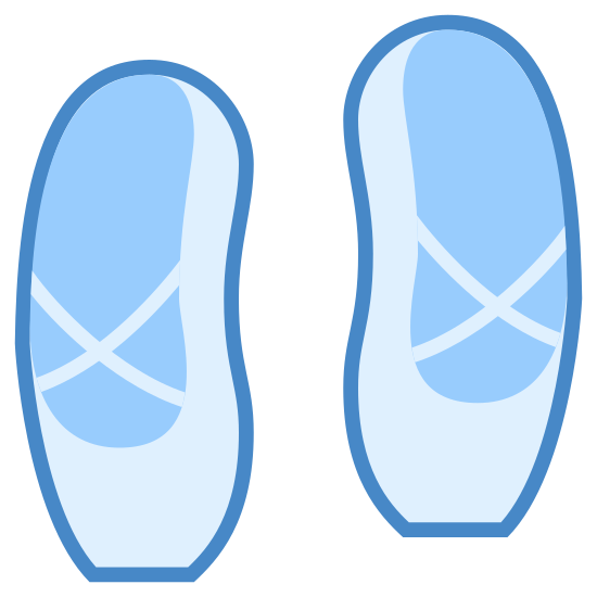 Балетные туфли icon. The icon is a pair of ballet shoes. It has a decorative cross shaped pattern around the surface of the top of the foot.