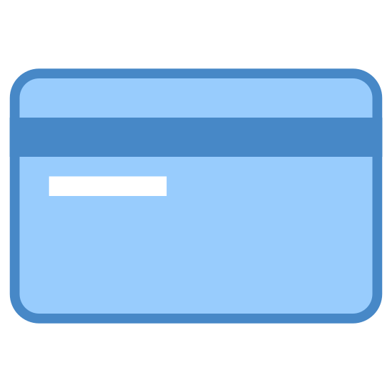 Karta bankowa tył icon. It's a small rectangle with rounded edges. There is a black bar that crosses the entire rectangle a centimeter from the top edge. There is a smaller line underneath the bar that is set slightly in from the left hand side and ends at the middle of the rectangle.