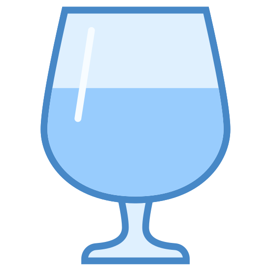 Kieliszek icon. The icon is a wine glass. The glass is a classic tulip glass that you would put wine into, underneath the tulip part that would hold some wine or other liquid in it is a narrow stem. Within the glass is some liquid.