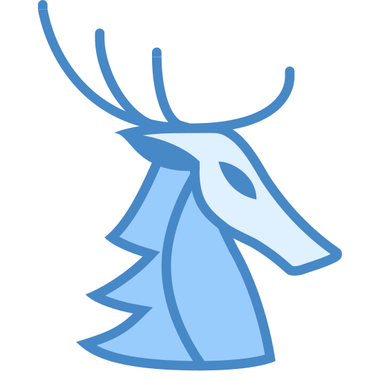 Baratheon House icon. The icon for the Baratheon House is an image of a stag. The stag is depicted from its neck upward and has antlers, which have 4 points to them. The stag is looking to the right, so only one eye can be seen.