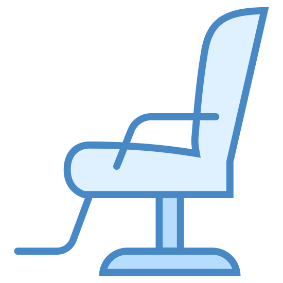 Krzesło fryzjerskie icon. This is a barber chair. It has a foot rest coming form the bottom of the seat, like what you would see at a barbershop.