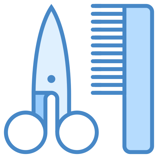 Salon fryzjerski icon. This icon is of a pair of scissors and a comb. The scissors are on the left and are a long thing triangle, with two medium sized circles at the bottom, with smaller black circles in the middle of them. The scissors also have a small black circle in the middle towards the base. The comb is to the right, and is one long rounded rectangular shape with 8 short black lines starting halfway up, going to the left, attached to it's left side.