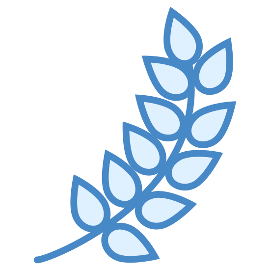 Barley icon. The icon is shaped like a plant stem with leaves on it. Staring from the bottom if curves to the right and then upwards. It has 13 leaf shapes that look like tear drops.
