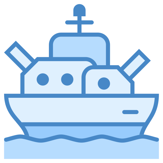 Battleship icon. A battleship icon is a ship out on the water, but the difference is it can shoot. The based on the ship looks like bottom half of a circle, and have features such as a flag on top of the ship. The battleship icon also has an object that looks like the stick to show there it is shooting.