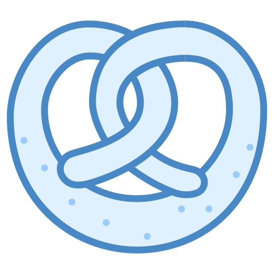 Brezel icon. This image shows a pretzel. it has a couple twists in it that interlap. the whole object looks like a circular shape. it has 9 dots on the pretzels bottom