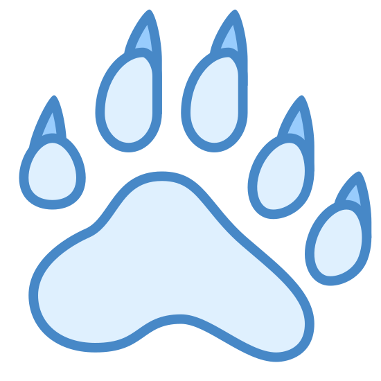 Ślad niedźwiedzia icon. The bear footprint icon, a clear profile of a bear paw print. The bear may not have been bearing weight as the print from the back of the paw is not visible. This bear clearly had deadly claws.