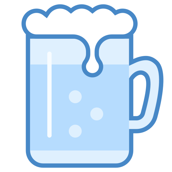 Beer icon. A beer icon will be a cup or mug and the mug will have a handle on the side. The drink is shown as a beer versus other drinks because there will be a foamy top that will be shown spilling over the cup.