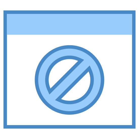 Bloqueur icon. The icon shows a rectangle with a horizontal line through at the top. Inside the box under the line, there is a circle with a diagonal line inside it going from the top-right of the circle to the bottom-left.