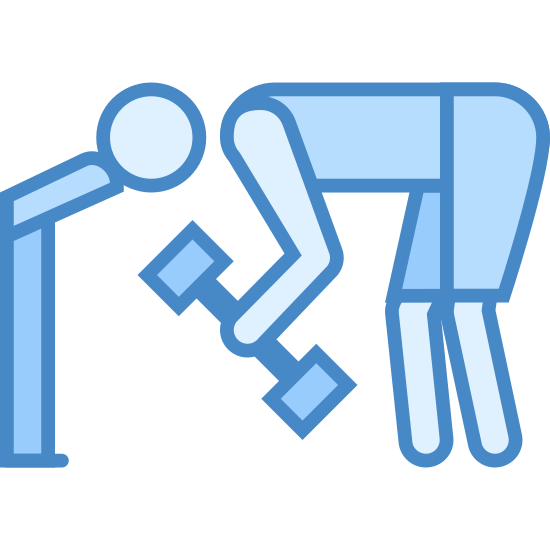 Ławeczka nad głową icon. This is a picture of a man bending over with his head near the side of a bench. in his hands is a dumbbell that he is lifting. his back is straight.