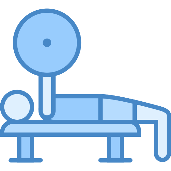 Bench Press icon. The icon is a picture of a bench press. It shows what appears to be the shape of a person laying down, head to the left, with their hands above their chest grabbing onto a weight bar with weights on it.