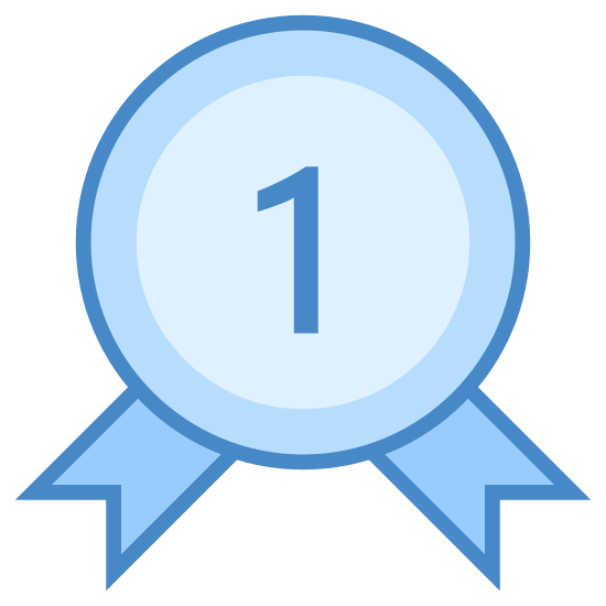 "ベスト・セラー icon. This is a picture of an award ribbon for being number one or first place. it has the number ""1"" with two stars on each side of it. around the inside perimeter of the ribbon are dots"