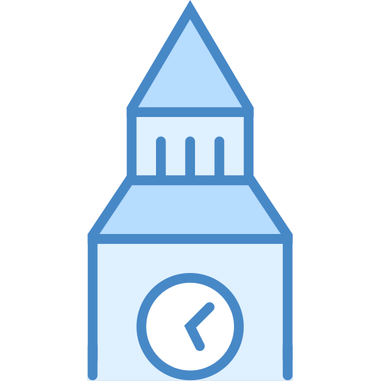 Big Ben icon. The icon has a square with a circle in the middle and inside the circle are two lines that slightly resemble a L shape.  Above the square is a semi-triangle shape with the top missing, above that is a rectangle, on top of that is a triangle. Two lines are located at the bottom of the square at either end.