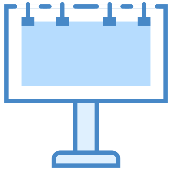 Billboard icon. The image is of a rectangle with the long sides horizontal. The rectangular part has three notches across the top. Below the rectangle, is a stand. The rectangle is sitting on the stand. There are connected.