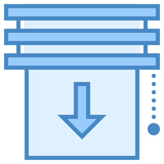 Window Shade icon. This icon shows a square window that is half covered in blinds, and half uncovered. The blinds cover the top half and under there is an arrow pointing down alongside a pulley to lower and raise the blind.
