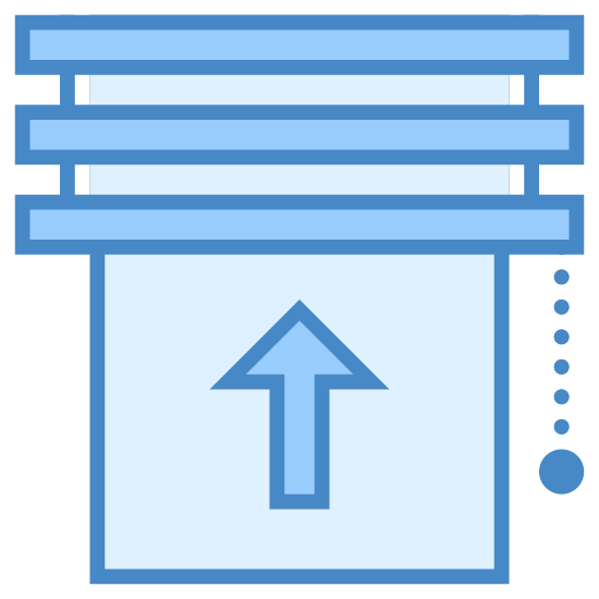 Żaluzje w górę icon. This is an icon showing instructions on how to operate window blinds. There is a picture of the horizontal slats of the blinds and an upwards pointing arrow.