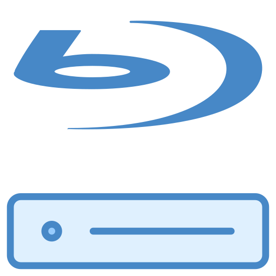 "Blu Ray Disc Player icon. The icon is a  blu ray disc player. The play has an icon that looks like a half moon with the letter ""b' besides it. Underneath this you see a rectangle with a small rectangle and circle in it."